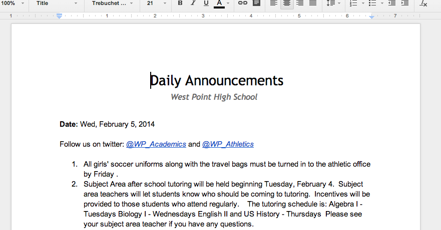 Using Google Scripts to Send a Daily Announcements Digest